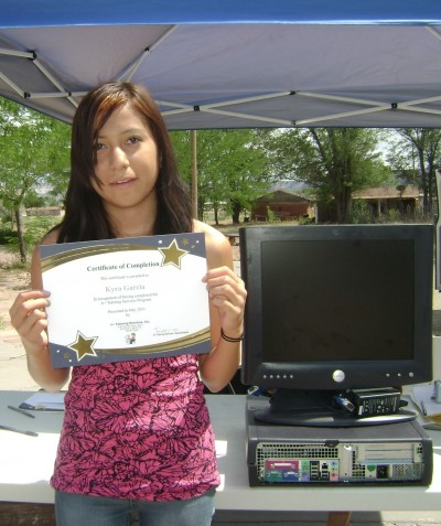 Student with completion certificate